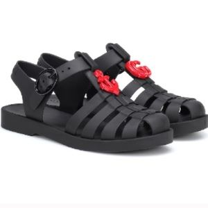 Gucci GG/Anchor Black and Red Sandals! 💥